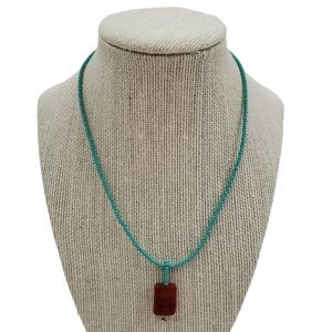 Peyote Bird Necklace Faux Turquoise Coral Red Blue